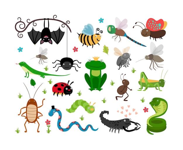 Набор милых насекомых и рептилий Бесплатные векторы