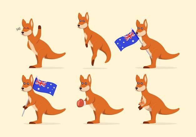 Набор милых иллюстраций талисмана кенгуру Premium векторы
