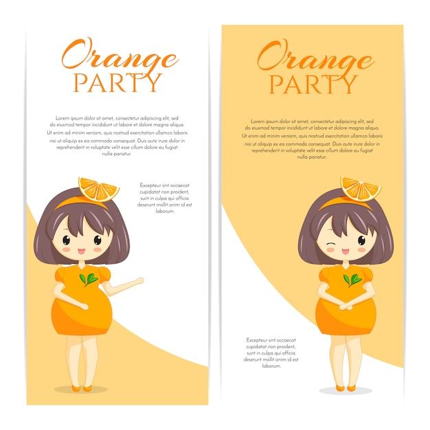 Комплект милых девушек kawaii в оранжевом платье с украшением в волосах изолированных на белой предпосылке. женский персонаж. фруктовая тема для пекарни, кафе, десертного баннера, флаера, сайта. векторная иллюстрация Premium векторы