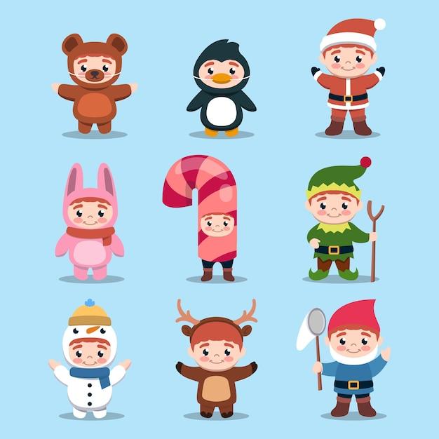 Набор милых детей с иллюстрацией дизайна рождественского костюма Premium векторы