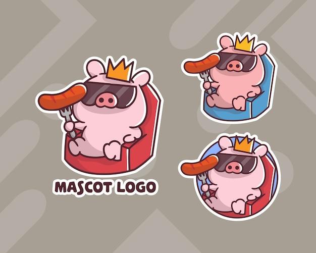 オプションの外観のかわいい王豚ソーセージマスコットロゴのセット。 Premiumベクター