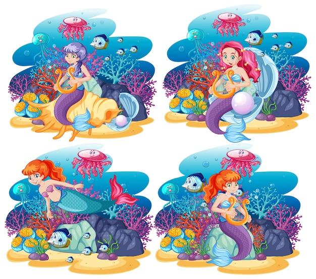 動物の海をテーマにしたかわいい人魚のセットシーン漫画スタイル 無料ベクター