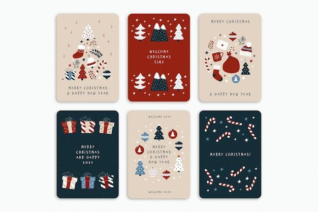 귀여운 유기 크리스마스 카드 세트 무료 벡터