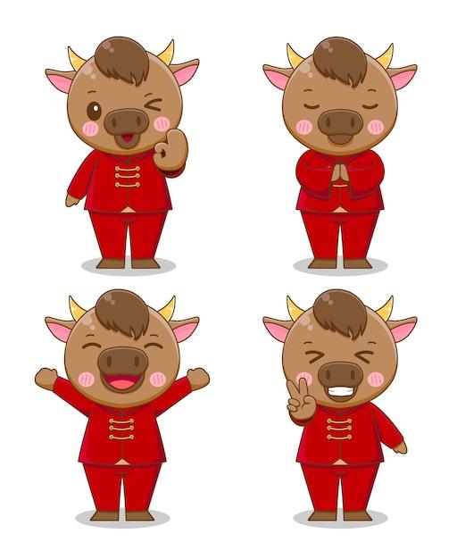 赤いスーツの漫画、幸せな中国の旧正月のかわいい牛のセット Premiumベクター
