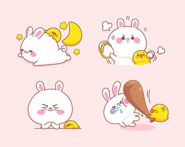 오리와 귀여운 토끼 세트는 화가 만화 일러스트를 느낀다 무료 벡터