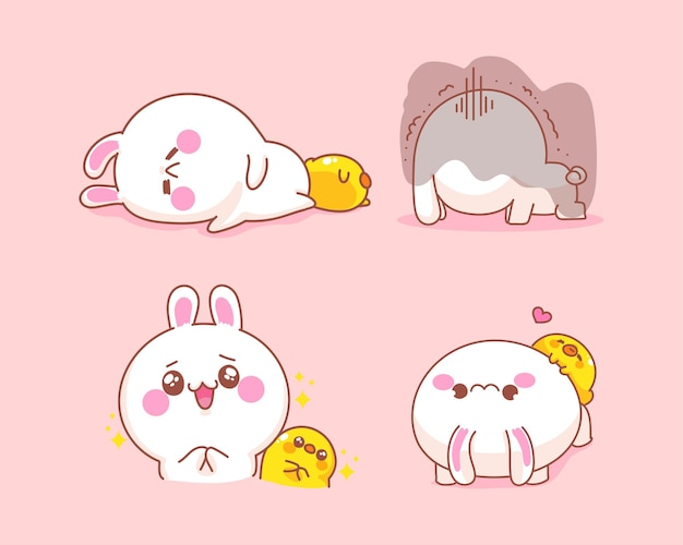 오리와 귀여운 토끼 세트는 행복하고 슬픈 만화 일러스트를 느낀다 무료 벡터