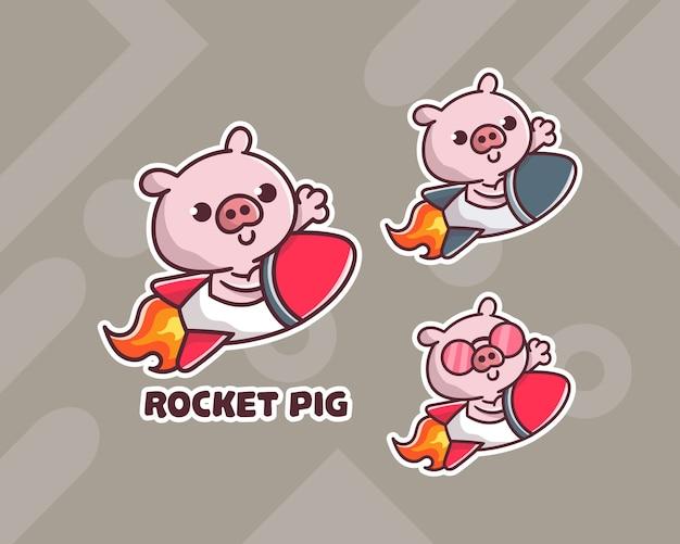 선택적 모양의 귀여운 로켓 치킨 마스코트 로고 세트. 프리미엄 벡터