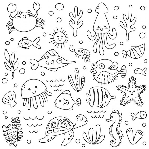 Набор милых морских животных в стиле каракули Premium векторы