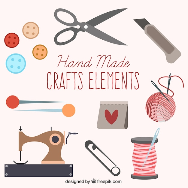 set of cute sewing elements Free Vector