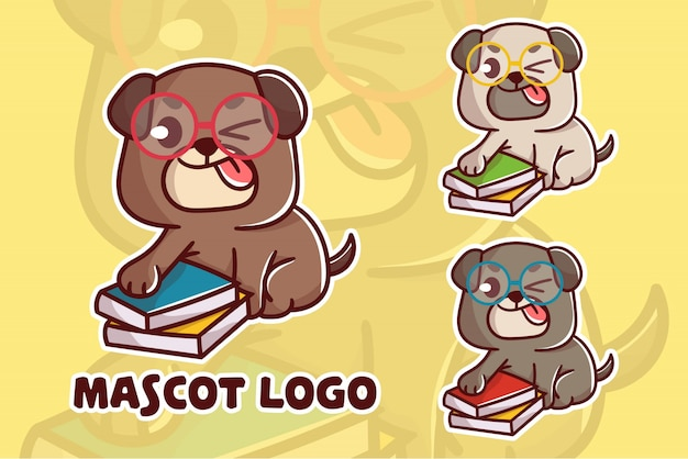 Набор милый умный логотип талисмана собаки Premium векторы