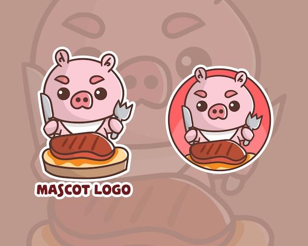 Набор симпатичного стейка с логотипом талисмана из свинины с дополнительным оформлением. Premium векторы