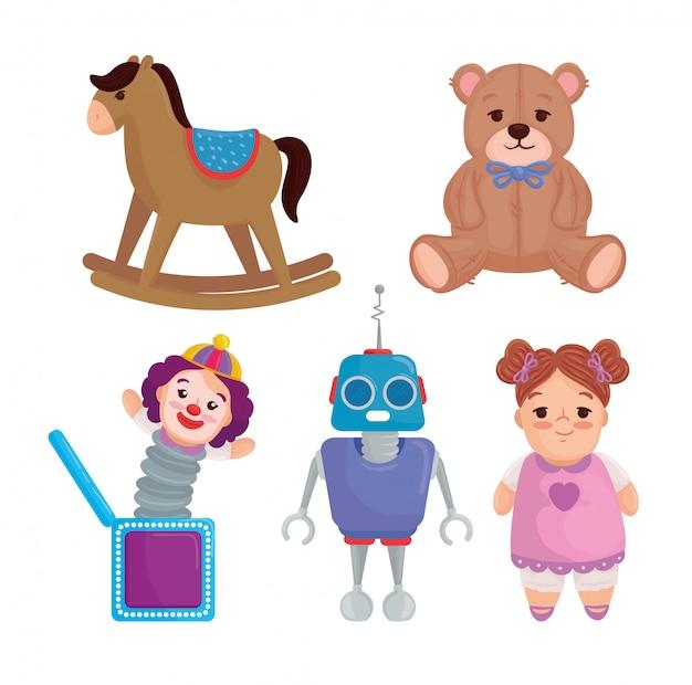 Набор милых игрушек для детей Premium векторы