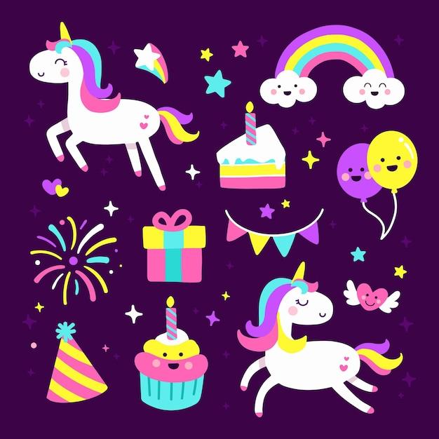 かわいいユニコーンパーティーの誕生日要素のセット Premiumベクター