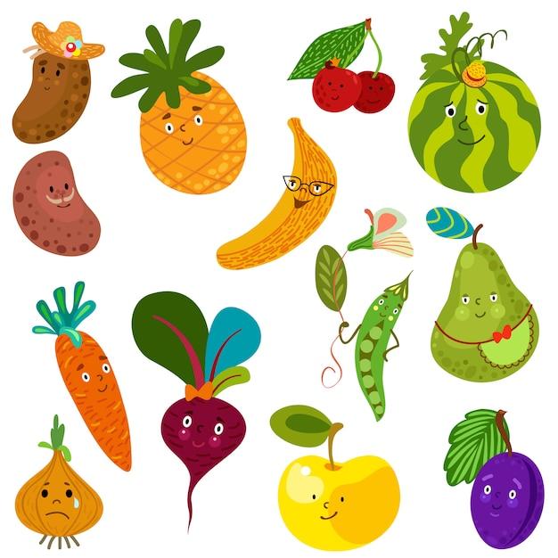 かわいい野菜や果物のセット。 無料ベクター