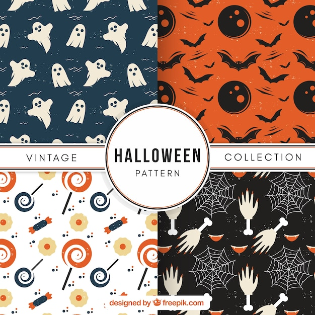Set of cute vintage halloween patterns