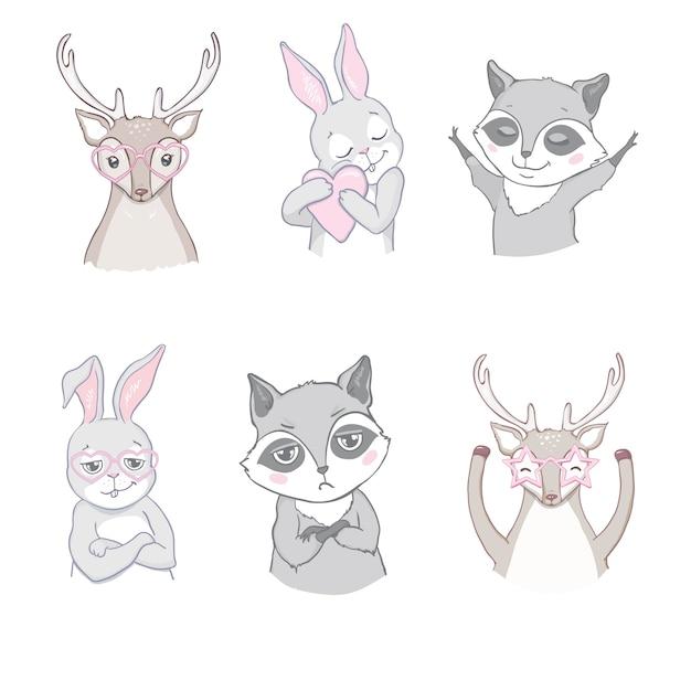 Набор милых лесных животных на белом Premium векторы