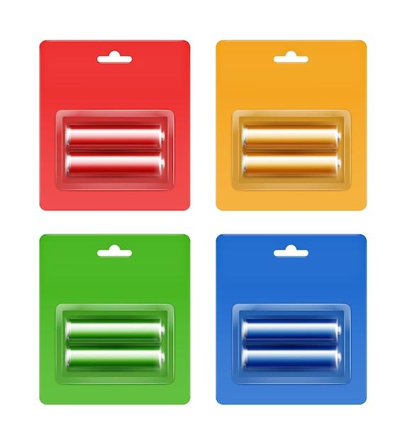 シアンブルーレッドグリーンイエローゴールデン光沢のあるアルカリ単三電池のシアンブルーレッドグリーンイエローオレンジブリスターのセット Premiumベクター