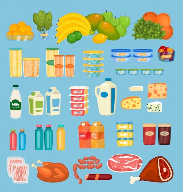 Набор ежедневных продуктов питания в стиле flat Premium векторы