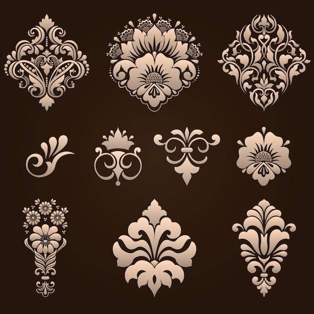 Набор дамасских декоративных элементов Бесплатные векторы