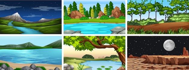 Набор дневных и ночных пейзажей природы или фона Бесплатные векторы
