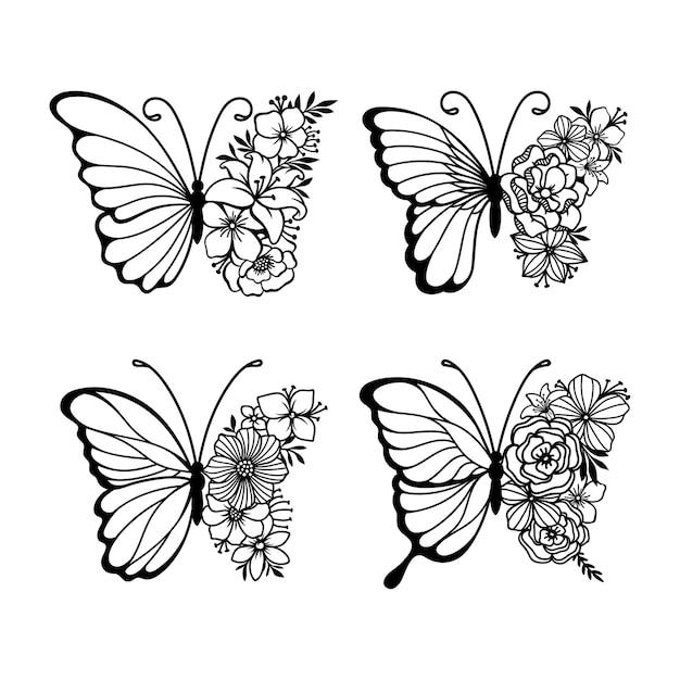 装飾線画蝶のセット Premiumベクター