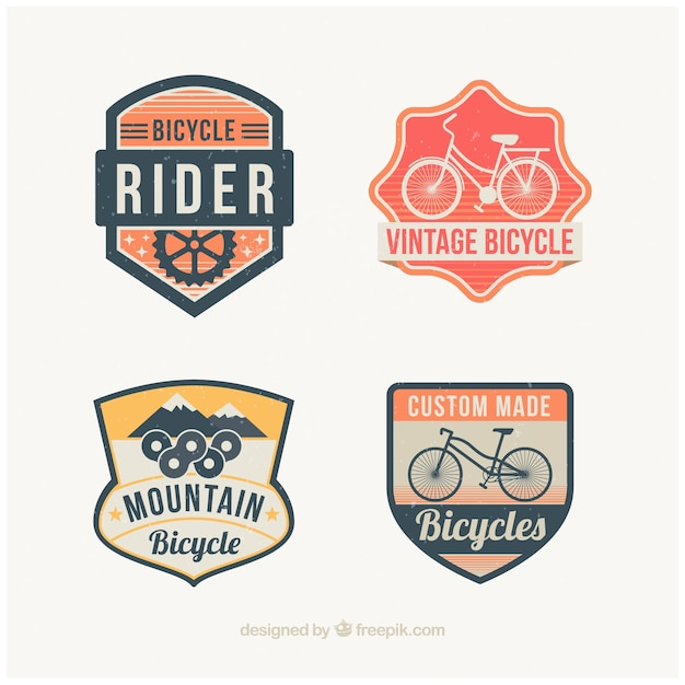 Set of decorative bicycles badges