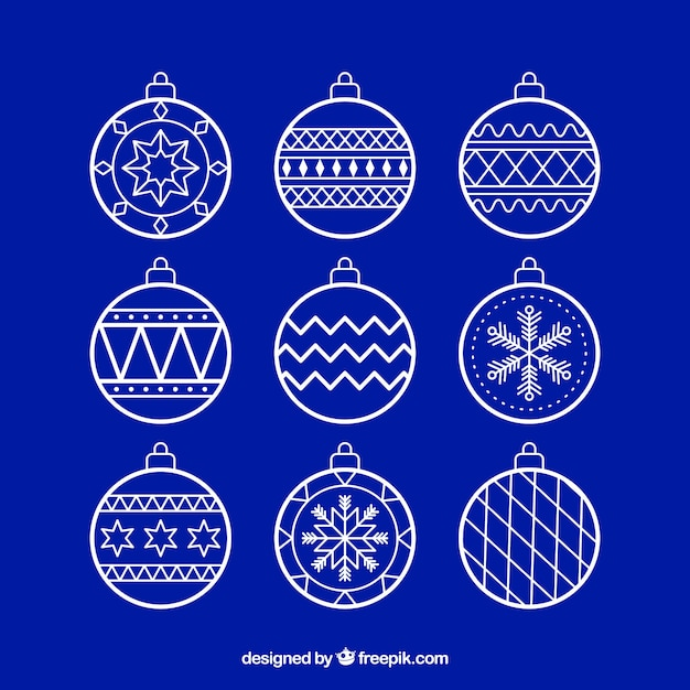 Set of decorative christmas balls Free Vector