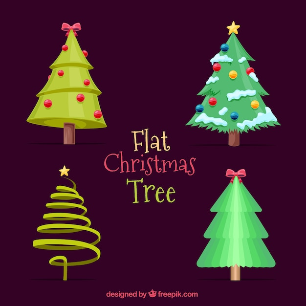 Christmas Tree Decorations Vector Free : Set of decorative christmas trees with ornaments vector