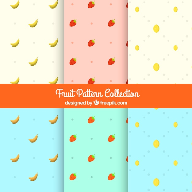 Set of decorative fruit patterns Free Vector