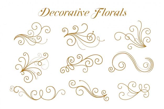 Набор декоративных золотых цветочных декоративных Бесплатные векторы