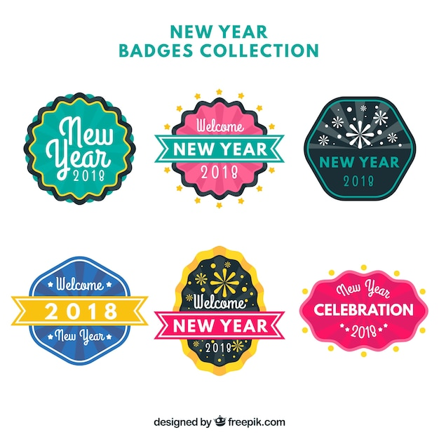 set of decorative new year labels free vector