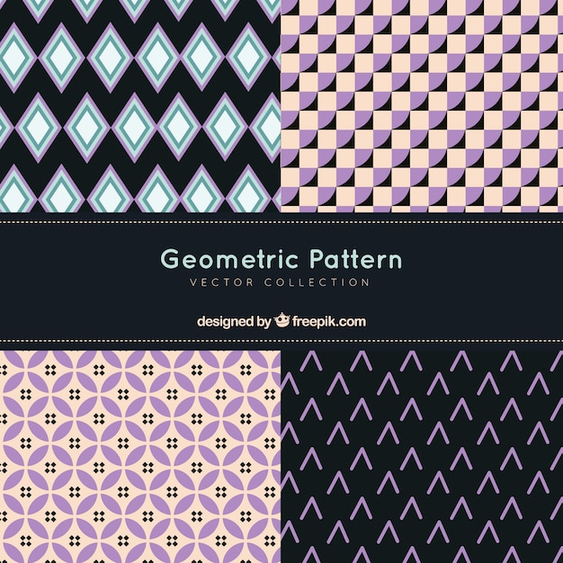 Set of decorative patterns with abstract shapes