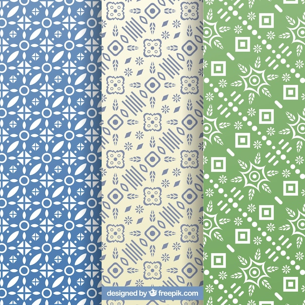 Set of decorative patterns with geometric shapes Free Vector