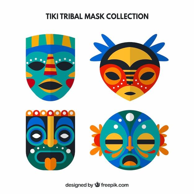 Set of decorative tiki masks in flat design Vector | Free Download