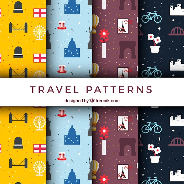 Set of decorative travel patterns in flat design  Free Vector
