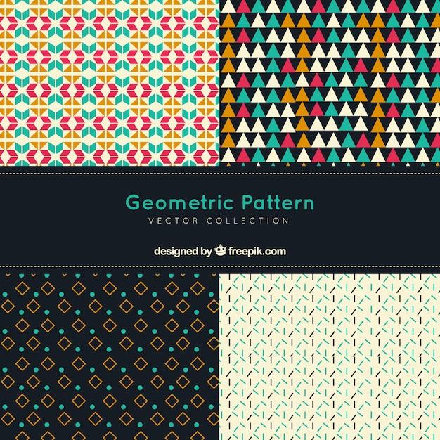 Set of decorative vintage geometric patterns