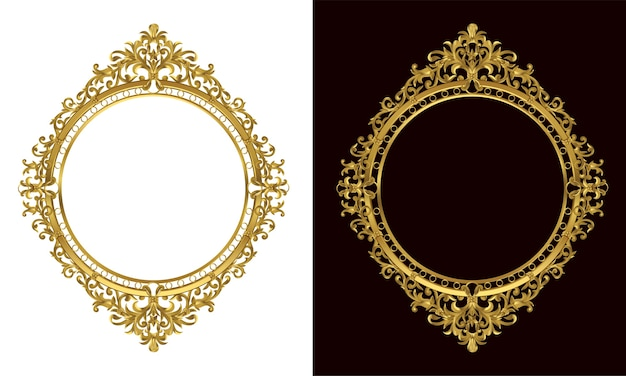 Set of Decorative vintage oval photo frame and border Vector ...