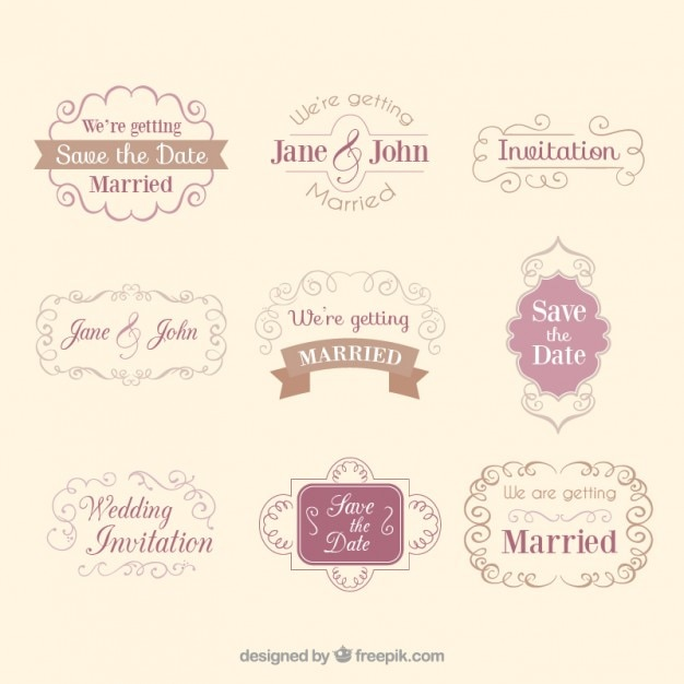 Set of decorative wedding badges in vintage style