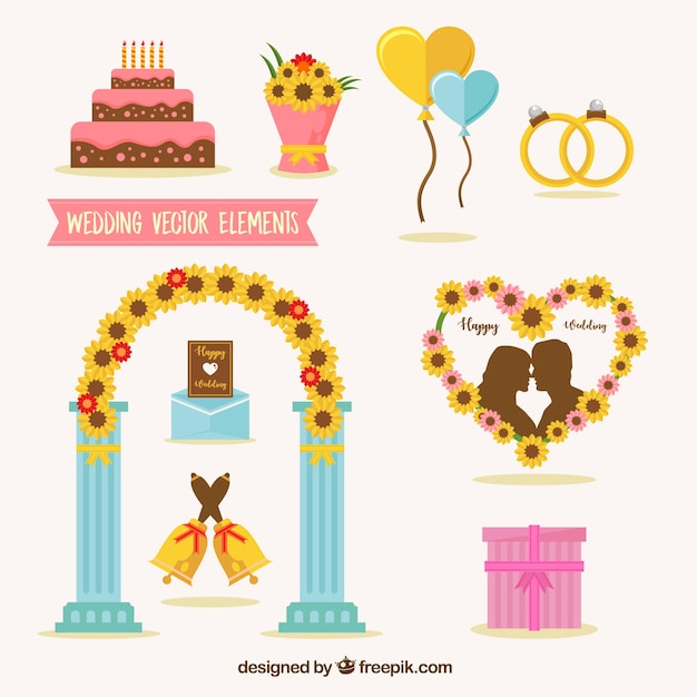 Set of decorative wedding elements in flat design vector free download set of decorative wedding elements in flat design free vector junglespirit Choice Image