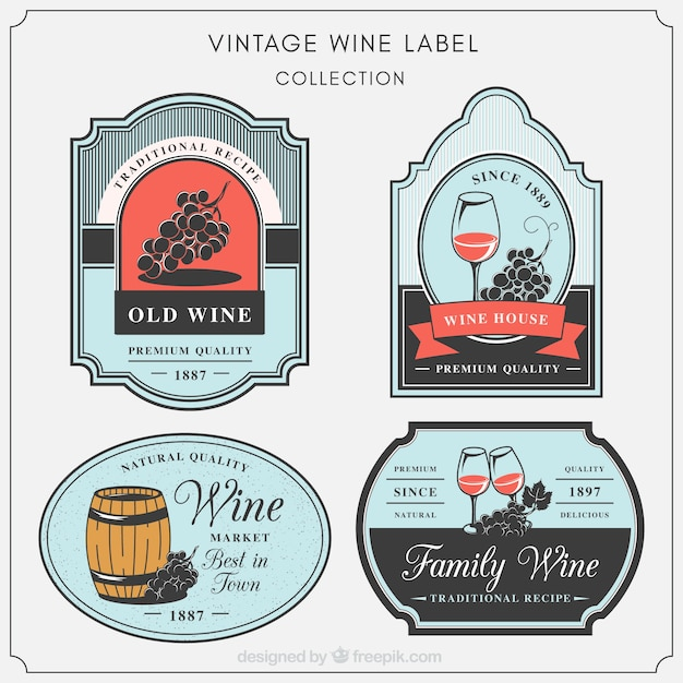 Set of decorative wine labels in vintage\ style