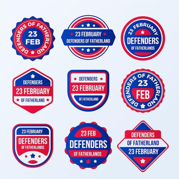 Набор этикеток день защитника отечества Бесплатные векторы