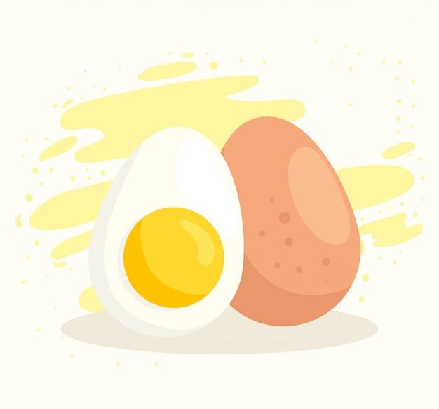 美味しくて健康的な卵のセット Premiumベクター
