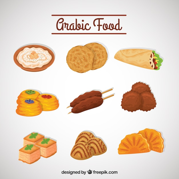 Set of delicious arabic food menu vector free download for Arabic cuisine menu