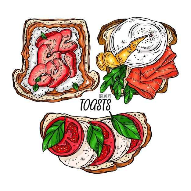 さまざまな材料を使ったおいしい朝食トーストのセット。手描きイラスト Premiumベクター