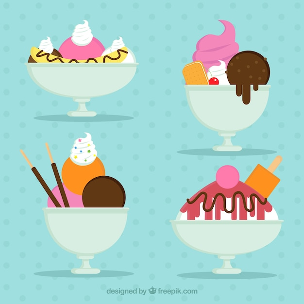 Set of delicious desserts with ice cream
