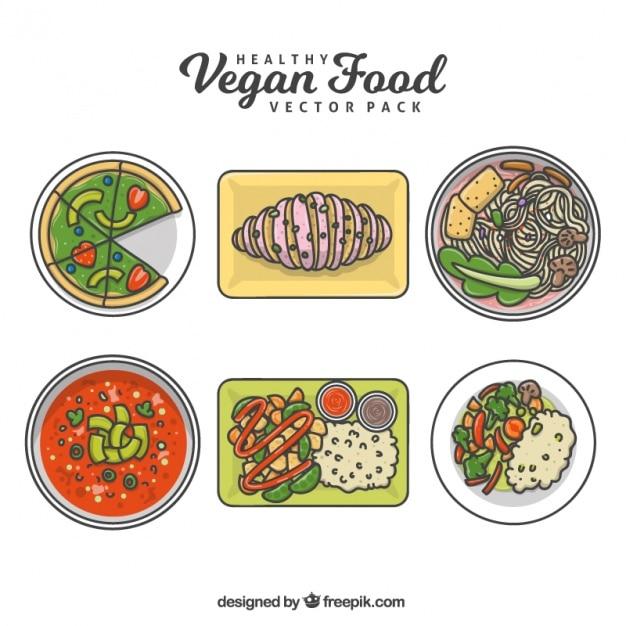 Set of delicious hand drawn vegan food