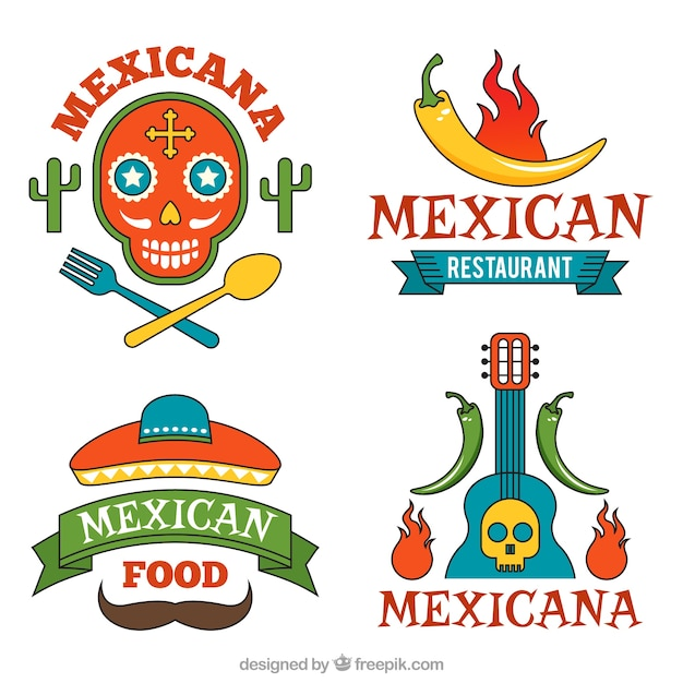 Set of delicious mexican food logos vector free download for Mexican logos pictures