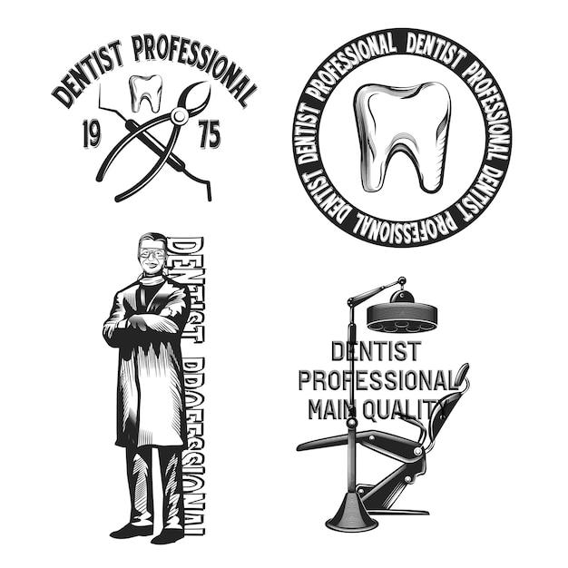 Набор стоматологических эмблем, изолированных на белом. Бесплатные векторы