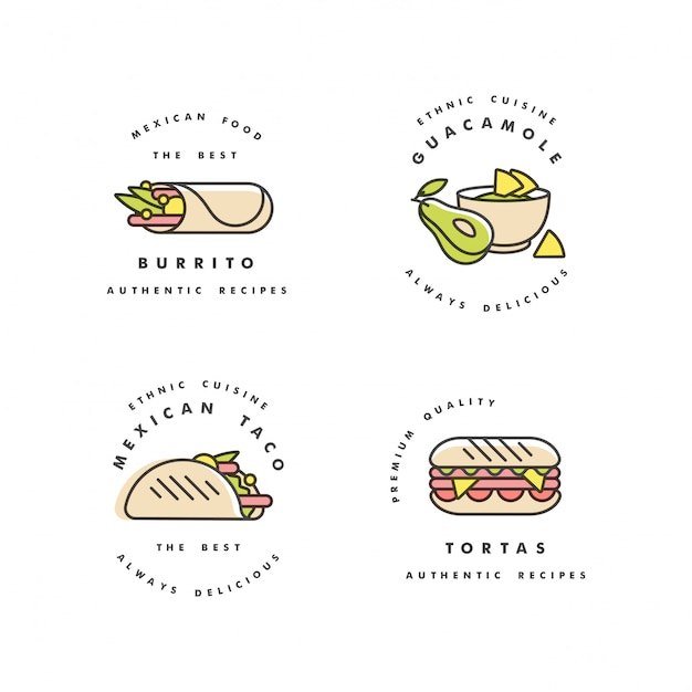 Набор шаблонов дизайна логотипов и эмблем - мексиканская еда. мексиканская национальная традиционная еда. логотипы в модном линейном стиле, изолированные на белом фоне. Premium векторы