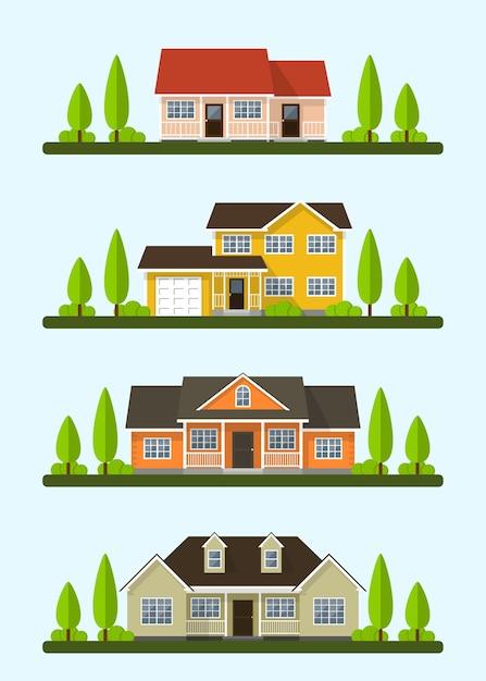 Набор подробных красочных коттеджных домов. стиль современных построек. иллюстрация Premium векторы